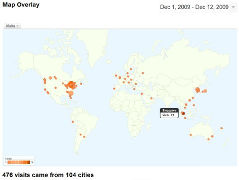 100 cities of visitors here within first 10 days